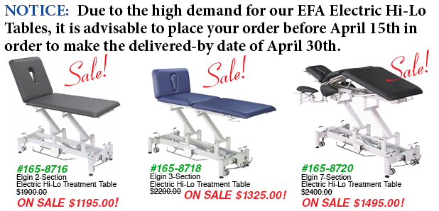 Order EFA tables now to get them on time